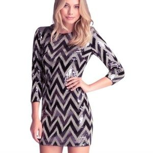 Bebe Black and Metallic Chevon Sequin Dress